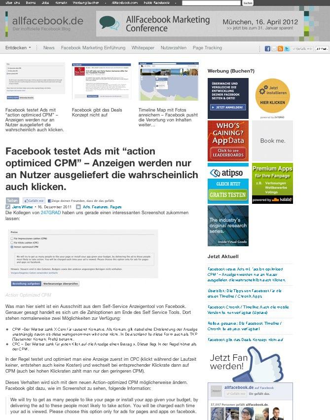 In eigener Sache: So sieht Allfacebook.de ab nächster Woche aus (Redesign)
