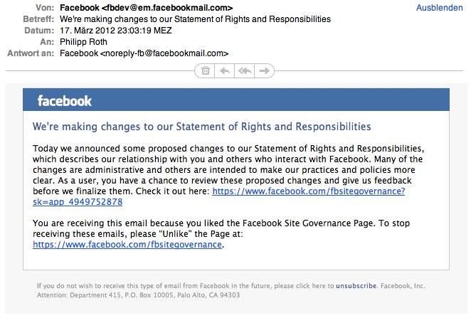 Änderungen an den Facebook AGB geplant