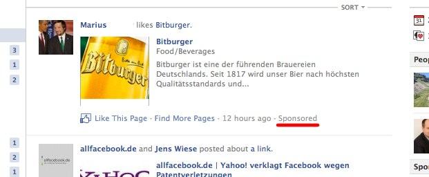 Ab jetzt Wirklichkeit: Werbung im Facebook Newsfeed auf der Startseite