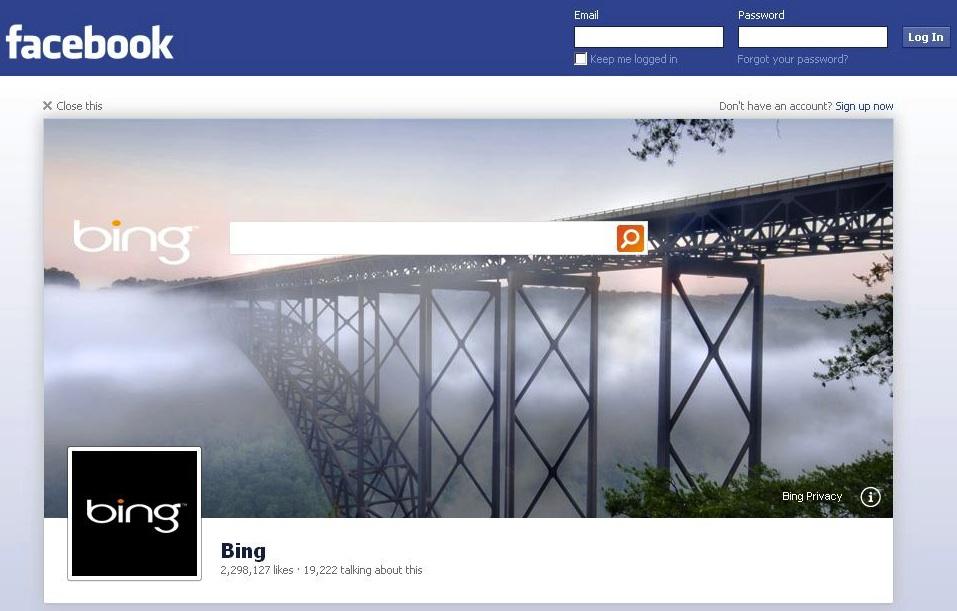 """Facebook """"Log-out experience"""" – Microsoft zeigt ein erstes Beispiel für die neue Werbeform"""