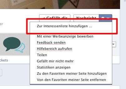 NEU:Facebook Interessenlisten erlauben es eigene Newsfeeds zu verschiedenen Themen zu erstellen