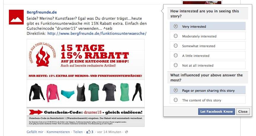 Wie interessant sind die Posts von einzelnen Pages wirklich? Facebook fragt nun die Fans selbst.