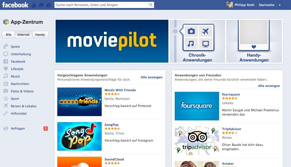 "Facebook ""App-Zentrum"" nun offiziell in Deutschland verfügbar"