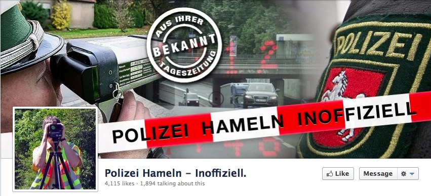 Das neue Social Local Mobile: Facebook Page warnt vor Blitzern