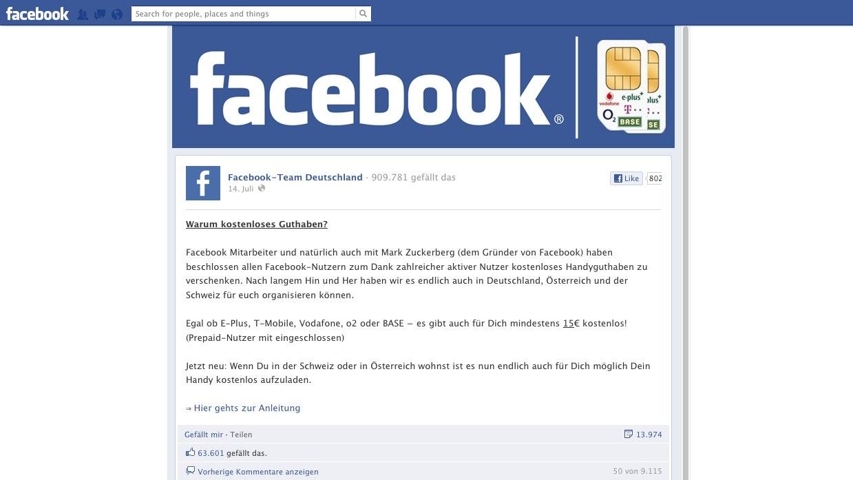Achtung: Facebook Team Deutschland verschenkt kein Handyguthaben!