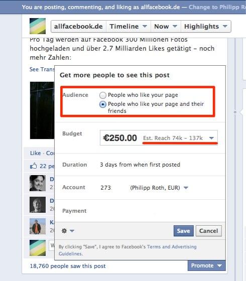 Promoted Post - Verbesserungen der Reichweite von einzelnen Facebook Posts durch das gezielte Bewerben