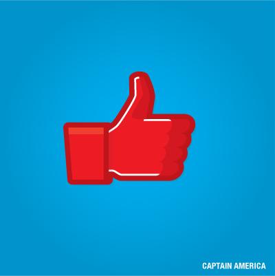 """""""Gefällt mir"""" Button von Captain America"""
