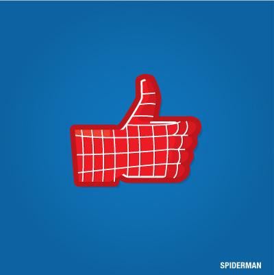 """""""Gefällt mir"""" Button von Spiderman"""