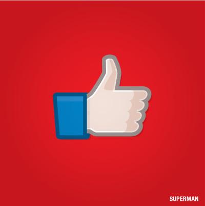 """""""Gefällt mir"""" Button von Superman"""