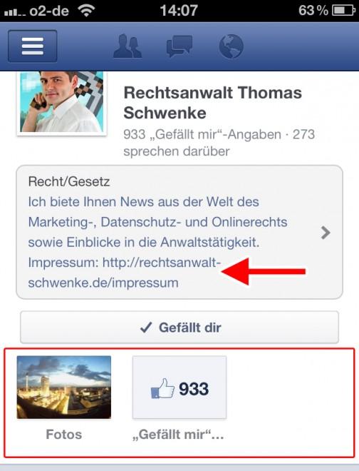 Impressumspflicht - Impressumsapp in mobilder Facebookapp