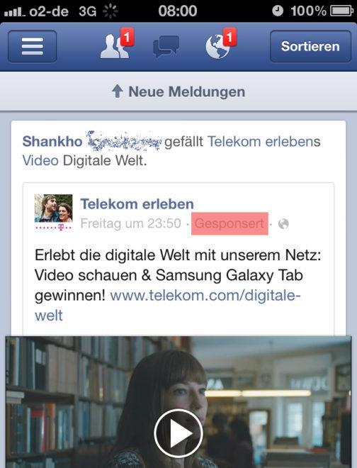 Facebook Werbung auf dem Handy