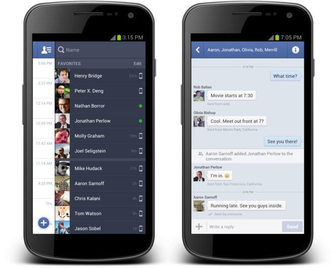 Screenshot der überarbeiteten Version des Facebook Messengers für Android Smartphone