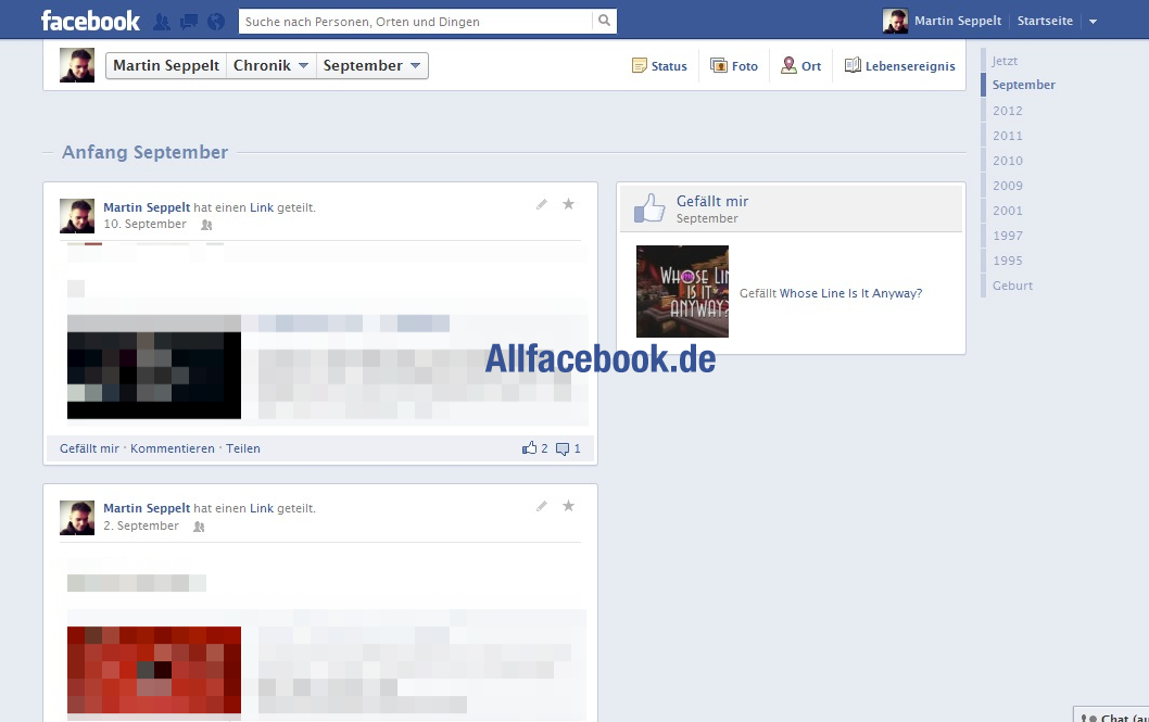 Timeline 2.0: Erste Screenshots vom möglichen Redesign der Facebook Chronik