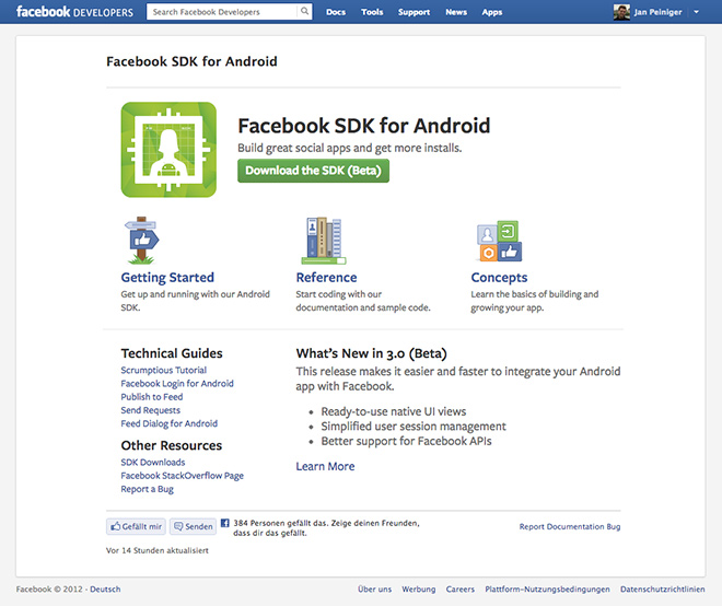 Neues Facebook Android SDK (3.0 beta)