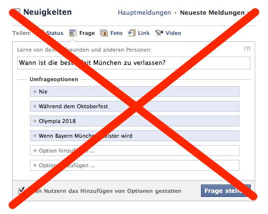 Facebook Questions / Fragen wird eingestellt.