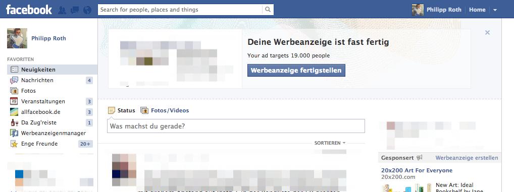 Facebook macht mit Bannern mehr Werbung, für seine Werbung…