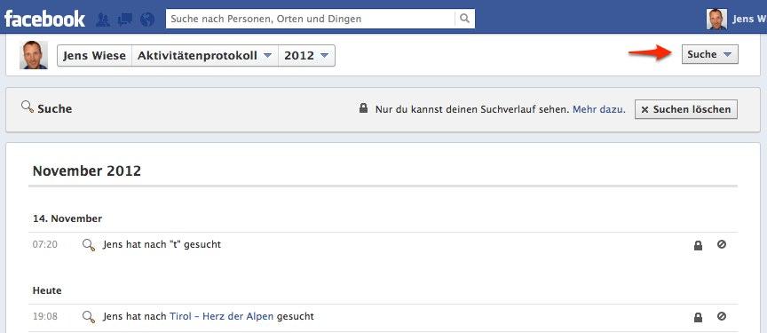 So gehts: Facebook Suchverlauf löschen