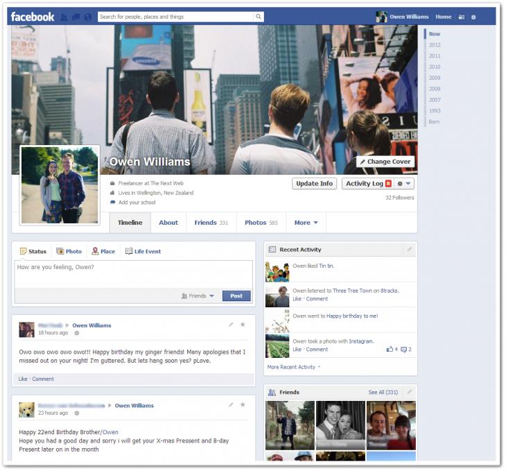Facebook weitet scheinbar Test für einspaltiges Timeline Design aus