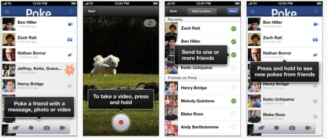 Screenshots der Facebook Poke App auf dem iPhone