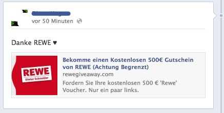 Achtung! REWE verschenkt keine Gutscheine auf Facebook!