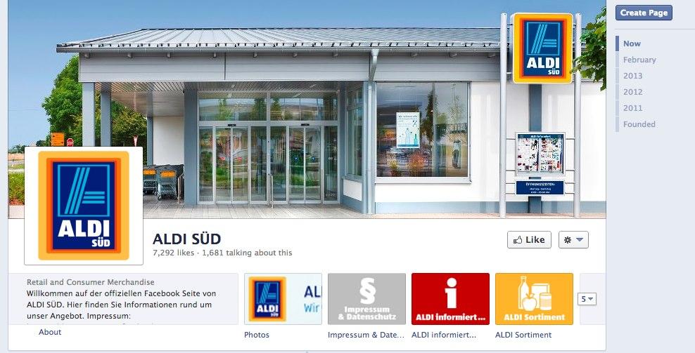 Jetzt ist Facebook Mainstream: Aldi Süd hat eine Page eröffnet