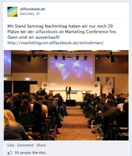 AllFacebook Marketing Conference – Nur noch wenige Tickets verfügbar!
