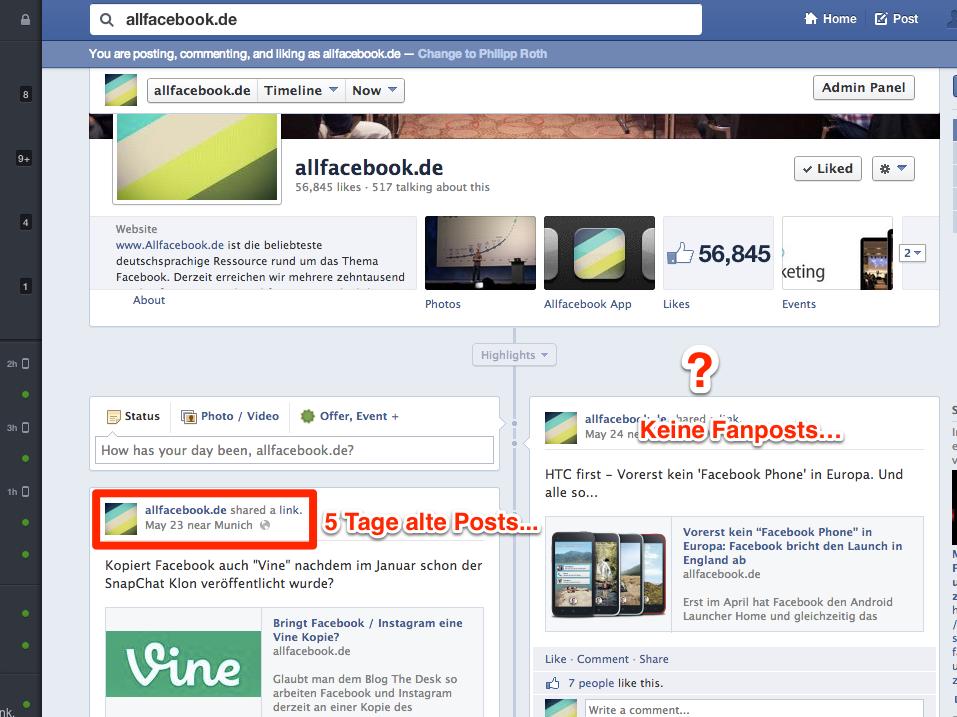 Facebook-Seiten: Probleme mit der Timeline, Fanposts und Insights häufen sich