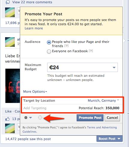 Promoted Posts – GEO-Targeting jetzt direkt auf der Facebook-Seite verfügbar