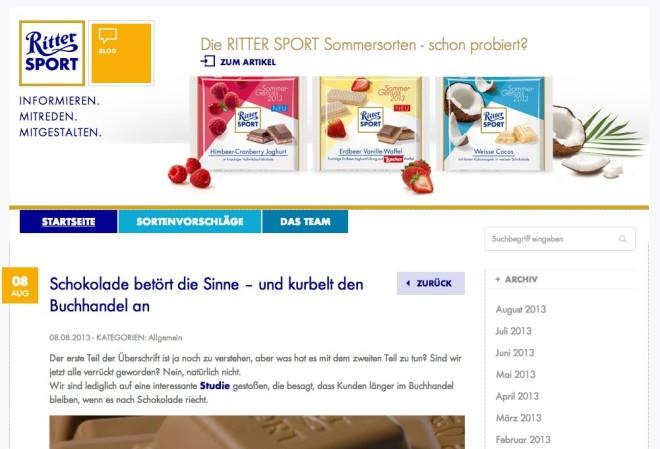 Bei Ritter Sport ist der Unternehmensblog Teil der Online Strategie