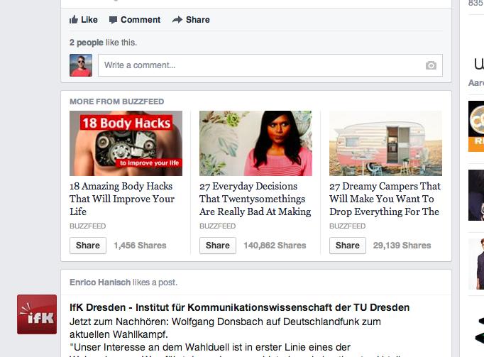 Neuer Test im Newsfeed: Facebook lädt nach Link-Klick weitere themenrelevante Links