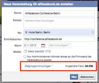 Facebook-Events: Erstellung auch mit Zielgruppenauswahl (Targeting) möglich