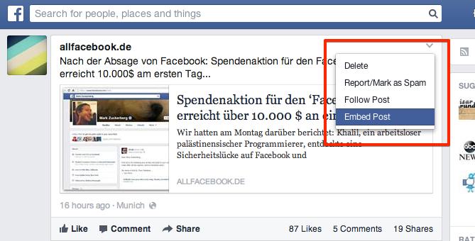 Embedded Posts jetzt für alle öffentlichen Beiträge direkt in Facebook verfügbar!