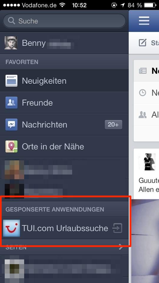 Gesponserte Anwendungen direkt im Menü – Wieder ein neues mobiles Werbeformat von Facebook