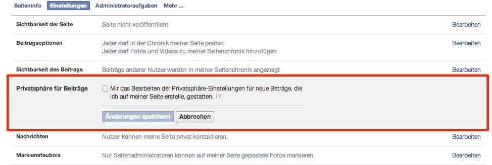 Wusstest Du schon: Auch Facebook Pages haben Privatsphäre-Einstellungen