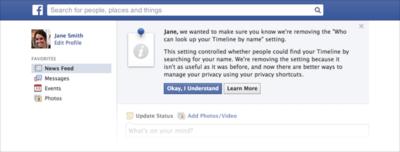 Facebook entfernt Möglichkeit,nicht über die Suche gefunden zu werden