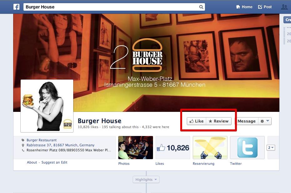 """Neuer """"Rezensieren""""-Button auf Facebook-Seiten und -Places"""