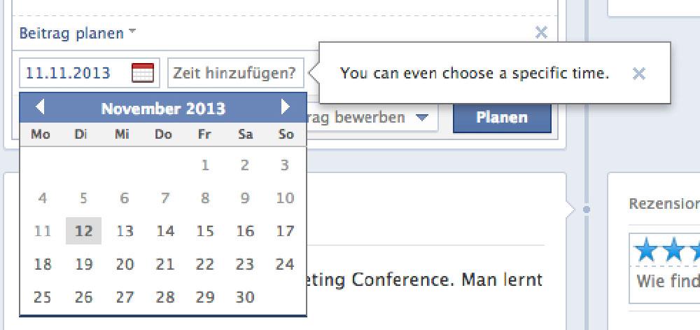 Endlich: Einplanen von Beiträgen über einen Kalender möglich