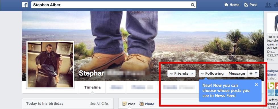 Dank neuem Feature: Weniger Kontrolle über die Inhalte der Freunde im eigenen Newsfeed.