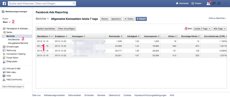 Facebook-Anzeigen 2014 für Anfänger: Kampagnen auswerten und Facebook Ads Reports erstellen
