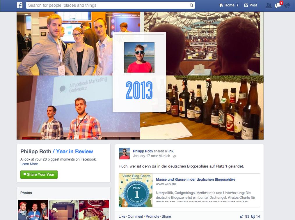 Euer persönliches Jahr auf Facebook, zusammengefasst auf einer Seite: 2013