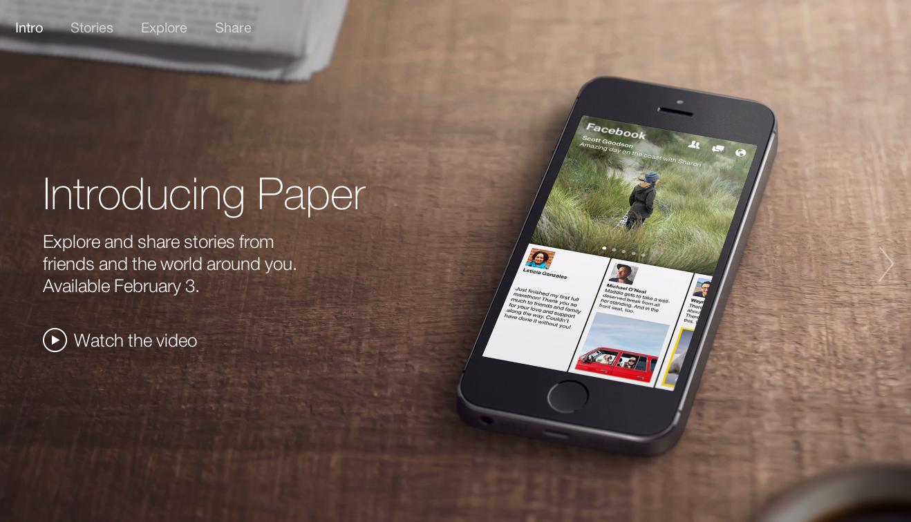 Jetzt offiziell: Facebook Paper – den neuen Reader von Facebook gibt es ab 3. Februar