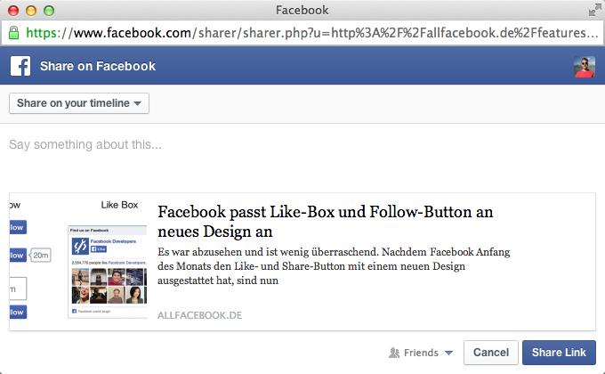 Neues Design beim Share- und Like-Dialog.