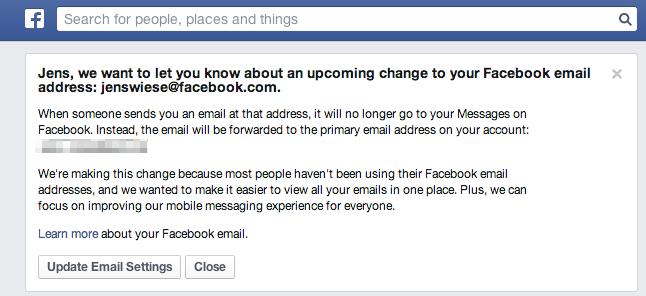 Facebook stellt E-Mail-Dienste für @facebook.com Mail-Adressen ein