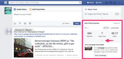 Nach Tests: Facebook Ads Insights jetzt bei mehr Nutzern in der Seitenleiste