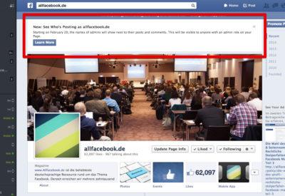 News für Admins: Ab dem 20. Februar zeigt Facebook an, wer Beiträge auf einer Seite veröffentlicht hat.