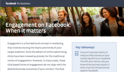Facebook Whitepaper: Werbung hat noch andere Ziele als Fanaufbau und Interaktion