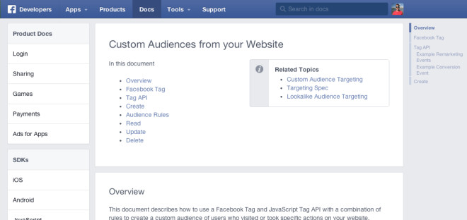 Dokumentation zum Thema Facebook Custom Audience.