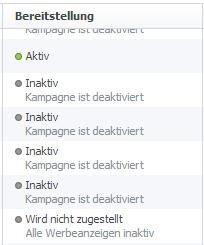 Übersicht: Status der Facebook Anzeigen