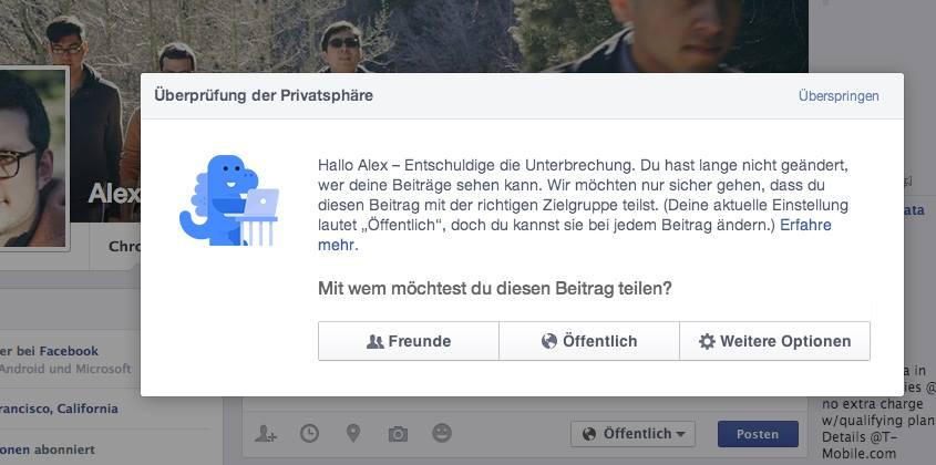 Der Facebook-Dino kommt – für Nutzer mit geringen Privatsphäre-Einstellungen