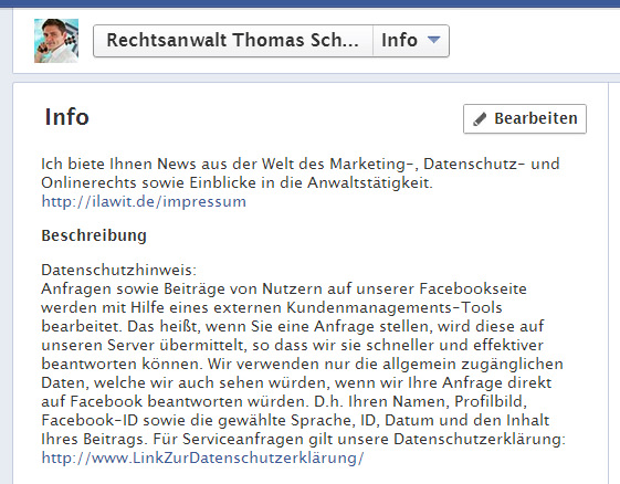 Infobox auf Facebook